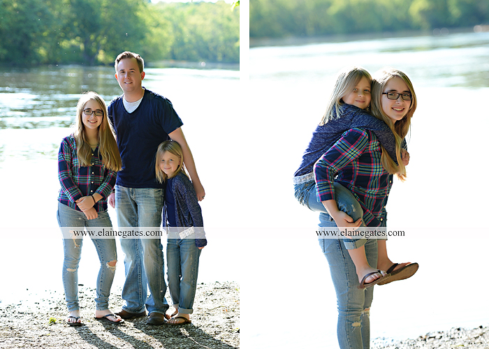 Mechanicsburg Central PA family portrait photographer outdoor children girls sisters mother father mom dad grass path water creek stream shore trees woods steps flowers sb 09