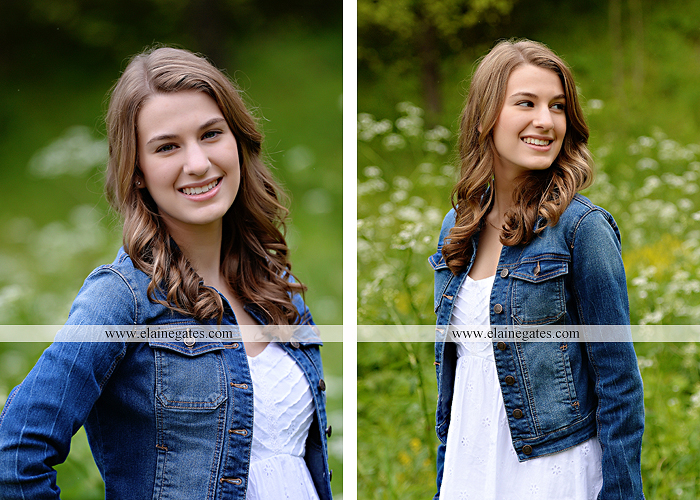 Mechanicsburg Central PA senior portrait photographer outdoor girl female field wildflowers bridge trees rock water stream creek kk 1