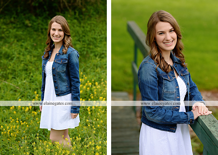 Mechanicsburg Central PA senior portrait photographer outdoor girl female field wildflowers bridge trees rock water stream creek kk 3