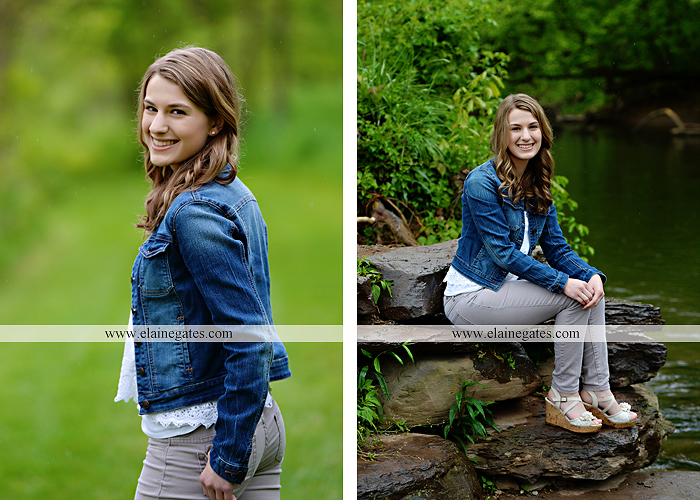 Mechanicsburg Central PA senior portrait photographer outdoor girl female field wildflowers bridge trees rock water stream creek kk 5