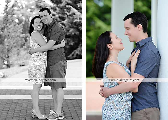 Mechanicsburg Central PA engagement portrait photographer hotel hershey outdoor steps stairs dog grass stone wall pillars hug kiss holding hands fountain water indoor balcony nr 07