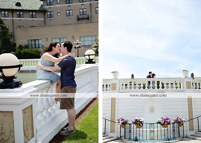 Mechanicsburg Central PA engagement portrait photographer hotel hershey outdoor steps stairs dog grass stone wall pillars hug kiss holding hands fountain water indoor balcony nr 12