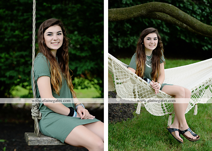 Mechanicsburg Central PA senior portrait photographer outdoor girl formal grass bench swing hammock wildflowers road field fence tree creek brick wall gate doorway steps staircase windows ed03